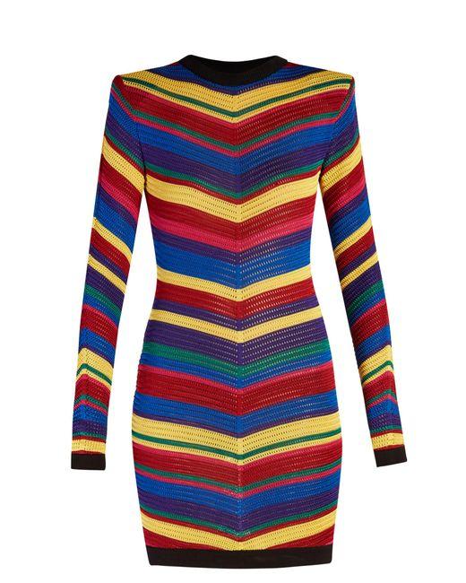 Balmain | Blue Chevron-striped Knitted Mini Dress | Lyst