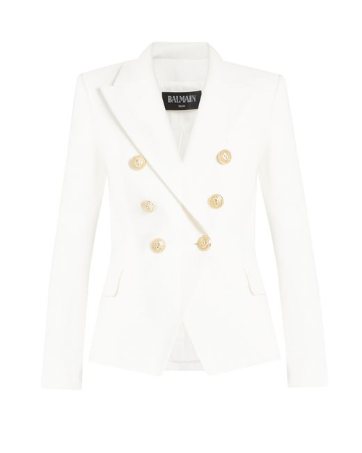 Balmain   White Double-breasted Cotton-piqué Blazer   Lyst