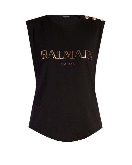 Balmain   Black Logo-print Cotton-jersey Tank Top   Lyst