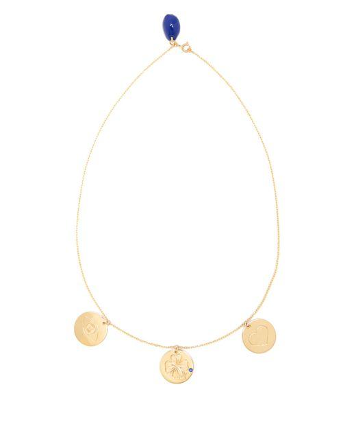 Aurelie Bidermann | Metallic Three-medals Sapphire & Yellow-gold Necklace | Lyst