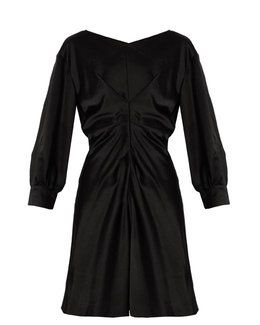 Isabel Marant | Black Rad Pleated-front Satin Dress | Lyst