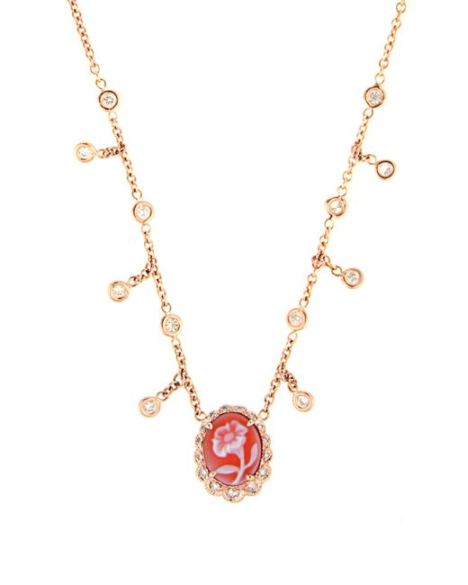 Jacquie Aiche | Multicolor Diamond, Agate & Rose-gold Necklace | Lyst