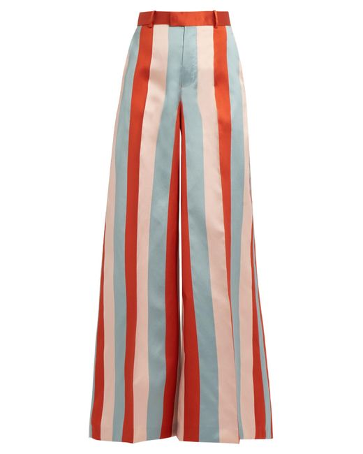 RED Valentino   Red Striped Wide-leg Satin-gabardine Trousers   Lyst