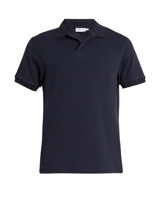 Sunspel Buttonless Cellulock Cotton Polo Shirt In Blue For