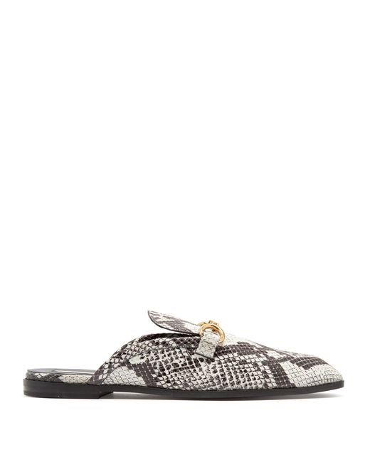 Stella McCartney | Multicolor Python-effect Faux-leather Backless Loafers | Lyst