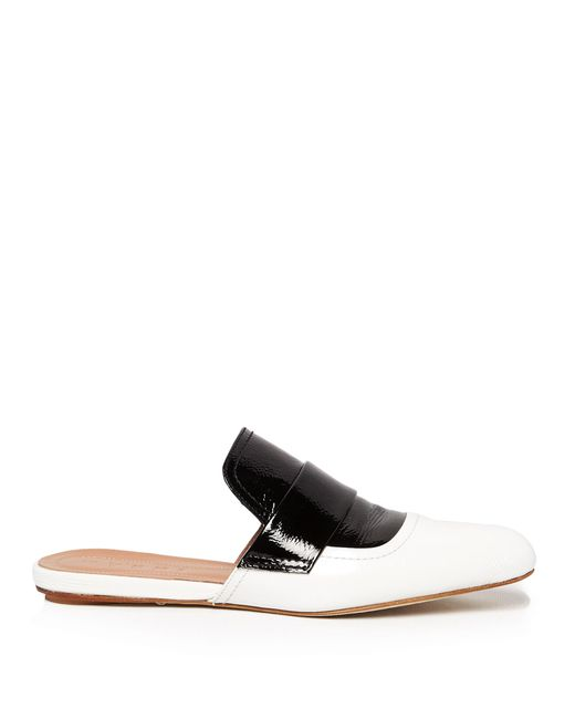 Marni | Black Bi-colour Patent-leather Backless Loafer | Lyst