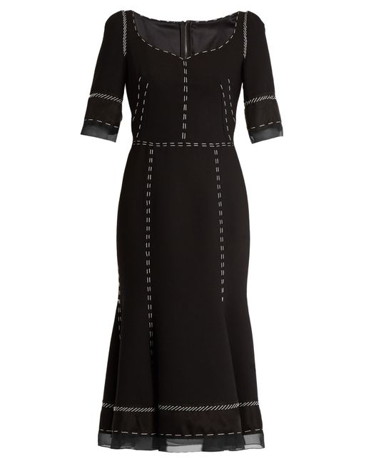 Dolce & Gabbana | Black Whipstitched Wool-blend Cady Dress | Lyst