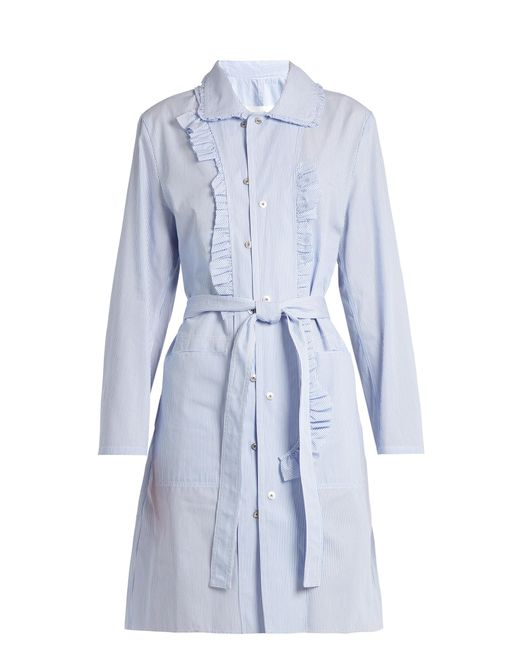 Maison Margiela | Blue Asymmetric-ruffle Striped Cotton-poplin Dress | Lyst
