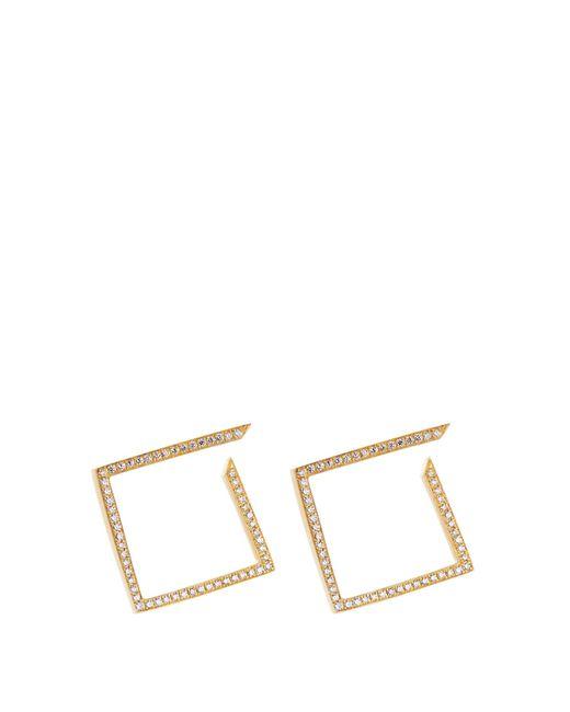 Azlee   Metallic White Light Diamond & Yellow-gold Earrings   Lyst