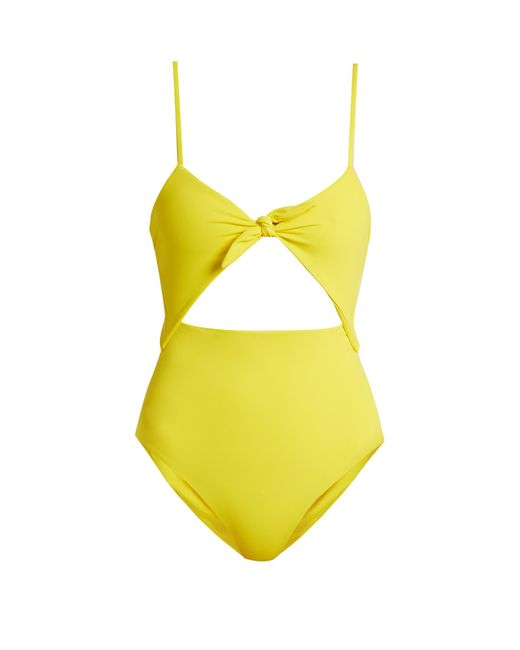 Mara Hoffman | Yellow Tie-front Cut-out Swimsuit | Lyst
