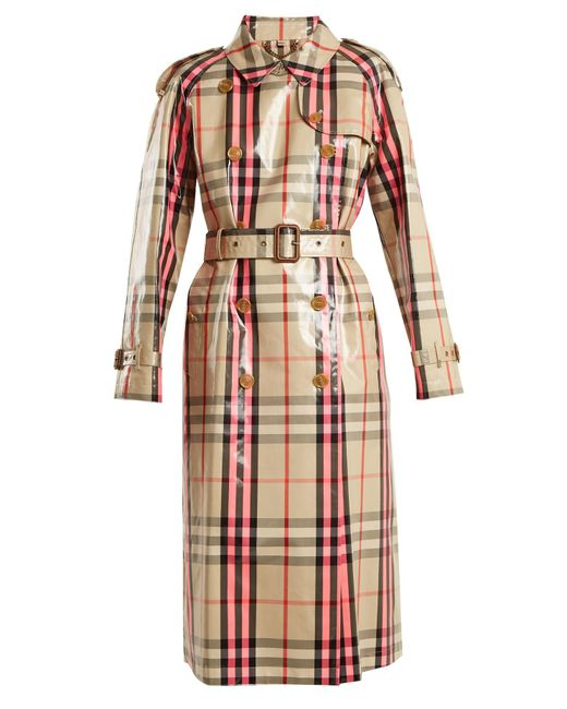 Burberry | Pink Laminated Cotton-blend Gabardine Trench Coat | Lyst