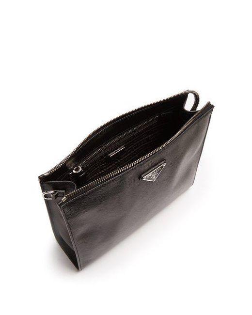 6ff2b8b6b286b0 ... Prada - Black Logo-plaque Saffiano-leather Washbag for Men - Lyst ...