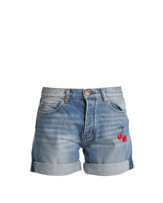 Bliss and Mischief   Blue Cherry-embroidered Denim Shorts   Lyst