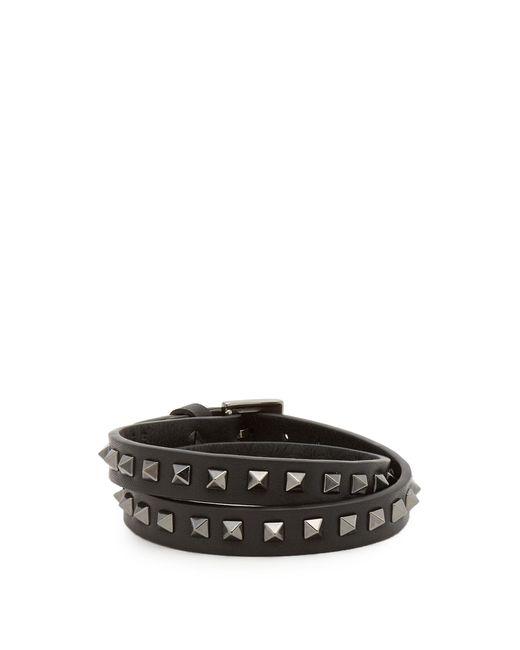 Valentino | Black Wraparound Rockstud-embellished Leather Bracelet for Men | Lyst