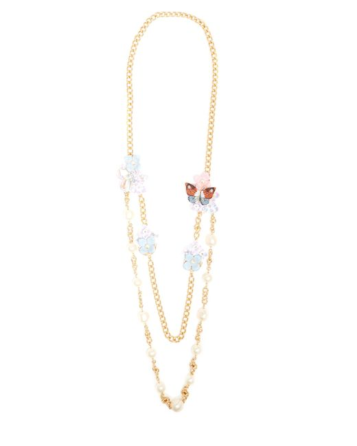 Dolce & Gabbana   Multicolor Hydrangea And Butterfly Double-strand Necklace   Lyst