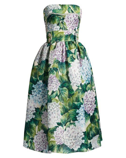 Dolce & Gabbana   Green Hydrangea-print Organza Strapless Dress   Lyst