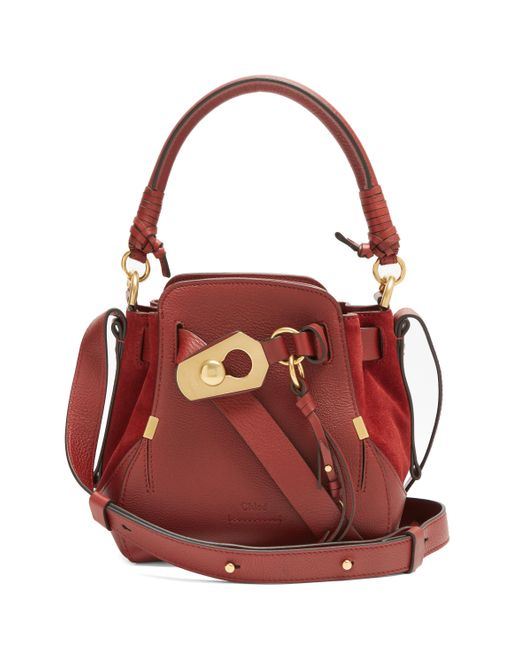 Chloé | Red Owen Small Leather And Suede Shoulder Bag | Lyst