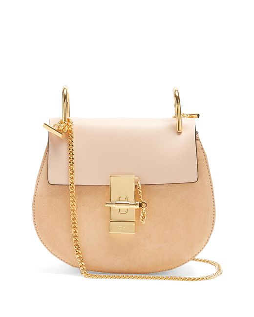 Chloé | Pink Drew Mini Leather And Suede Cross-body Bag | Lyst