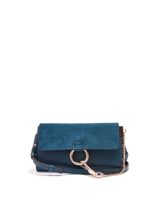 Chloé | Blue Faye Mini Leather And Suede Cross-body Bag | Lyst