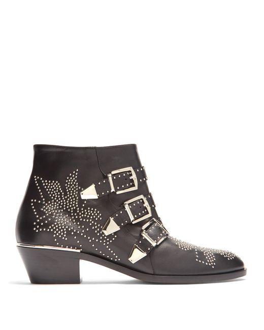 Chloé | Black Susanna Leather Studded Booties | Lyst