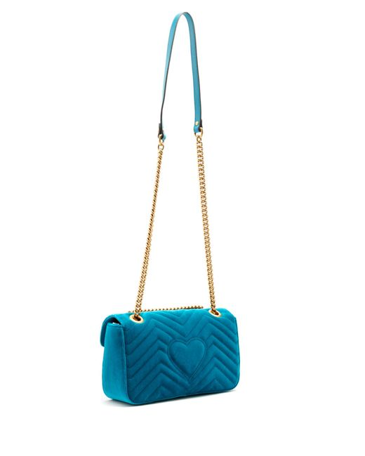 6bbeff7dcce Lyst - Gucci Gg Marmont Small Quilted-velvet Cross-body Bag in Blue -