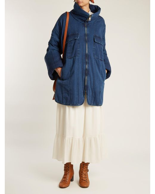 Chloé Oversized Funnel-neck Quilted Denim Coat in Blue