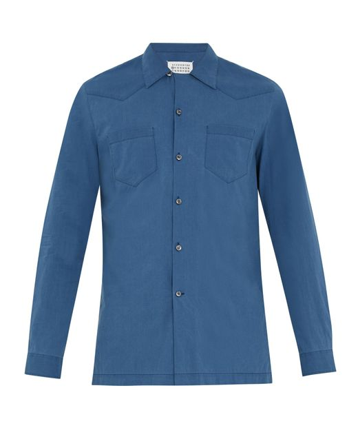 Maison Margiela | Blue Half-zip Panel Point-collar Cotton Shirt for Men | Lyst