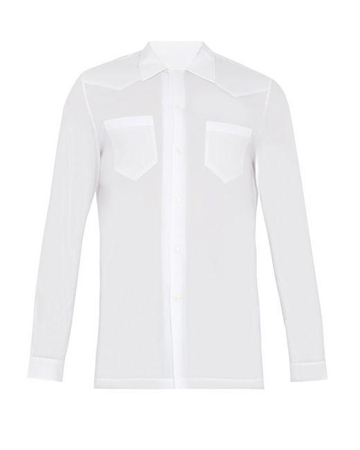 Maison Margiela   White Half-zip Panel Point-collar Cotton Shirt for Men   Lyst