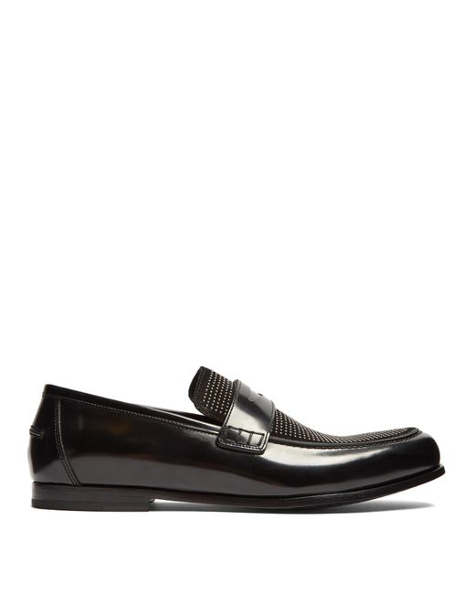 Jimmy Choo   Black Darblay Studded-front Leather Penny Loafers for Men   Lyst