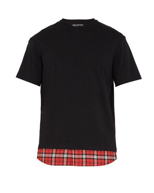 Neil Barrett | Black Tartan-panel Cotton T-shirt for Men | Lyst