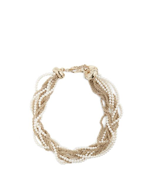 Lanvin | Metallic Twisted Faux-pearl And Chain Necklace | Lyst