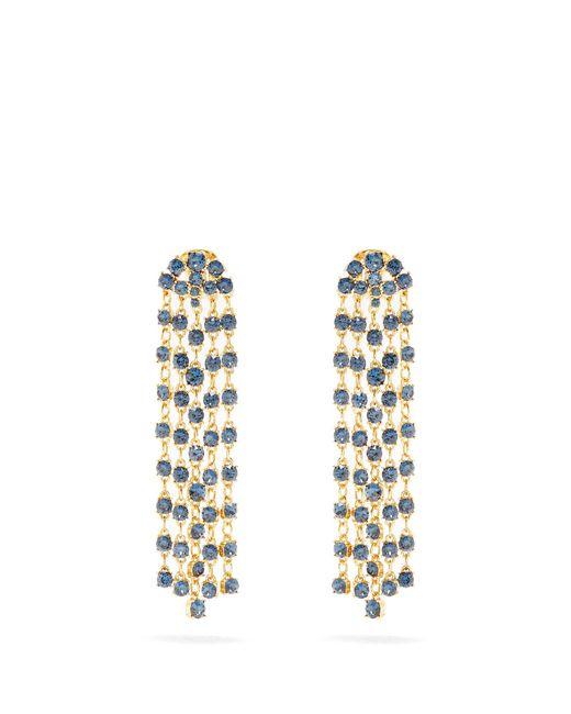 Oscar de la Renta   Blue Crystal-embellished Clip-on Earrings   Lyst