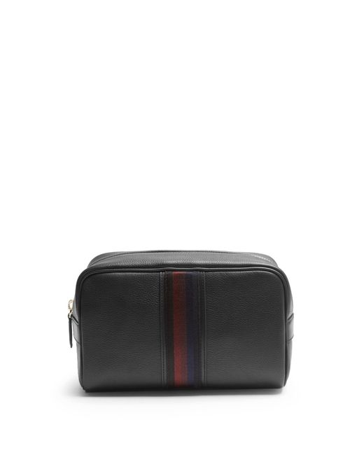 Paul Smith | Black Web-panel Grained-leather Washbag | Lyst
