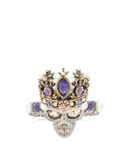 Alexander McQueen | Metallic Queen Skull Crystal And Pearl-embellished Ring | Lyst