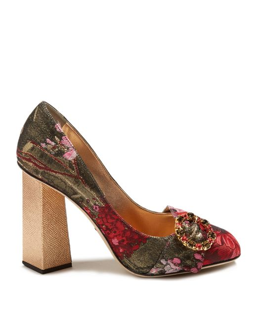 ac8a98c69f49 Dolce  amp  gabbana Block-heel Floral-jacquard Pumps in Red