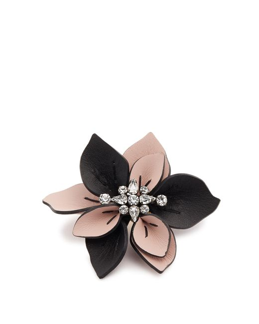 Marni | Multicolor Crystal-embellished Flower Leather Brooch | Lyst