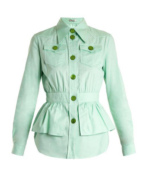 Miu Miu   Green Peplum-waist Cotton-piqué Jacket   Lyst