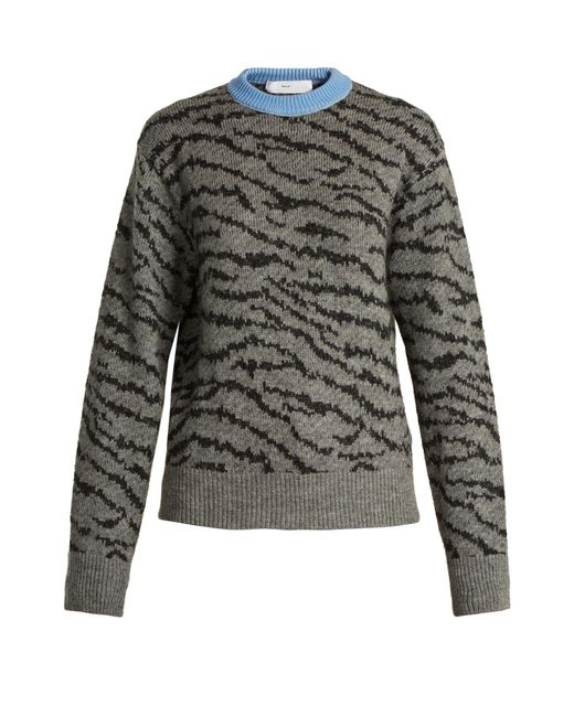 Toga | Gray Animal-jacquard Wool-blend Sweater | Lyst