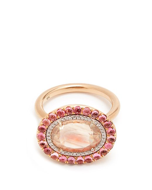Irene Neuwirth | Pink Diamond, Sunstone, Tourmaline & Rose-gold Ring | Lyst