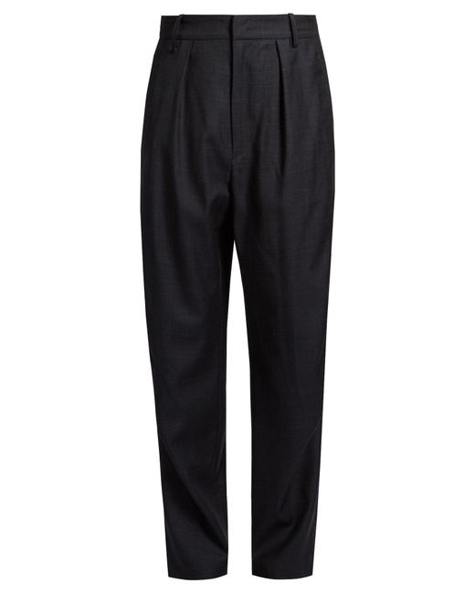 Étoile Isabel Marant | Black Nimura Wide-leg Checked Wool Trousers | Lyst