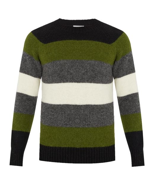 AMI | Green Striped Alpaca-blend Sweater for Men | Lyst