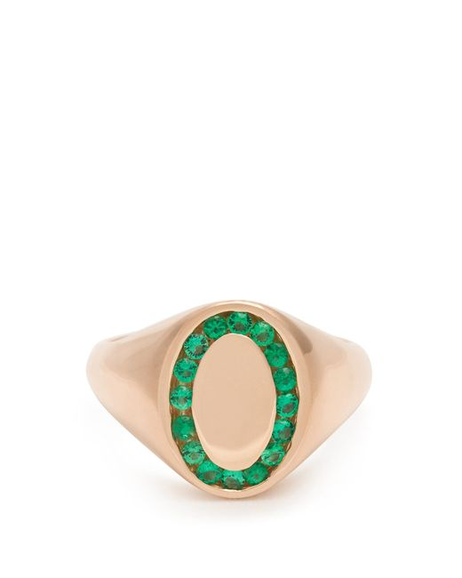Jessica Biales   Green Emerald & Pink-gold Ring   Lyst