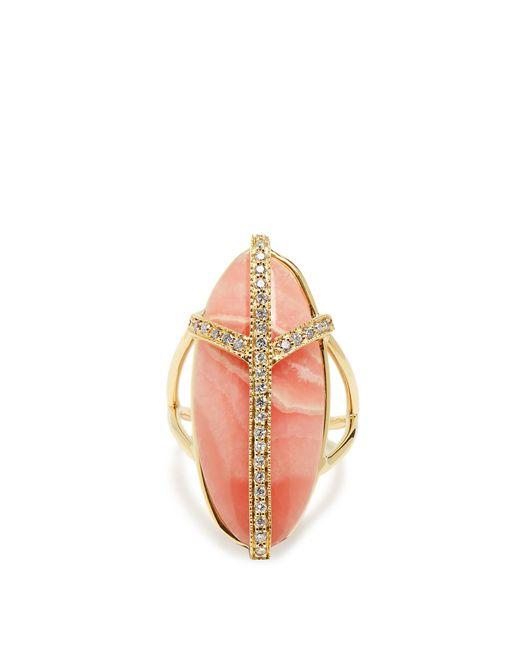 Jacquie Aiche | Metallic Diamond, Rhodochrosite & Yellow-gold Ring | Lyst