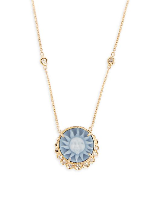 Jacquie Aiche | Blue Diamond, Agate & Yellow-gold Necklace | Lyst