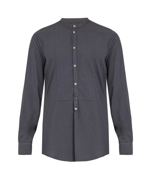 Massimo Alba | Gray Granddad-collar Modal And Cotton-blend Shirt for Men | Lyst