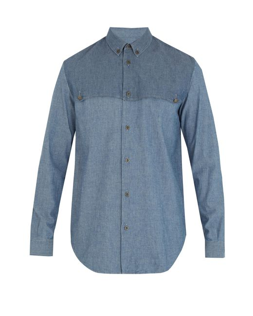 Maison Margiela   Blue Single-cuff Front-yoke Cotton Shirt for Men   Lyst