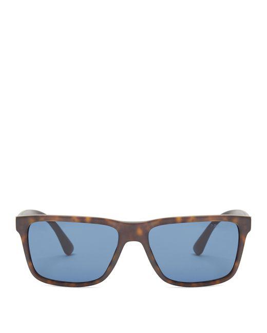Prada | Black Rectangle-frame Acetate Sunglasses for Men | Lyst