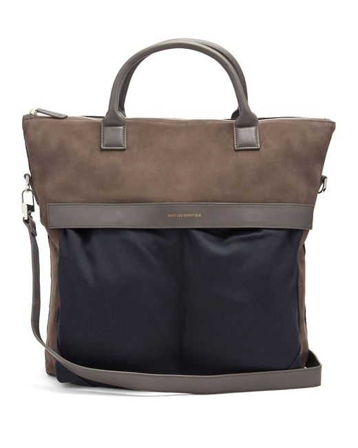 Want Les Essentiels De La Vie | Blue O'hare Suede And Canvas Tote for Men | Lyst