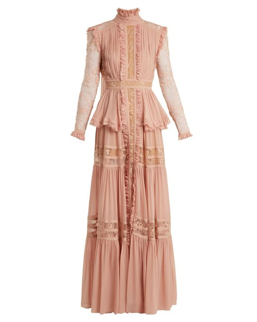 Elie Saab | Pink Frilled Crepe Georgette & Lace Gown | Lyst