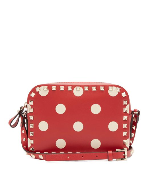 Valentino - Red Rockstud Camera Polka Dot Leather Cross Body Bag - Lyst